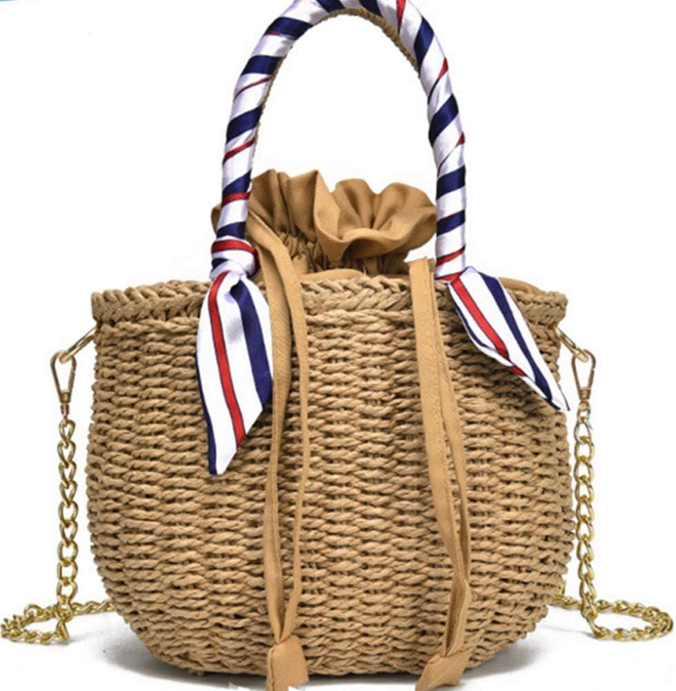 Zhaoronghua Mini Cute Damen Stroh gewebt Handtasche Sommer Strand Tote Bag Leder Schultertasche Stroh Tasche mit Abdeckung Griff,Braun Brown
