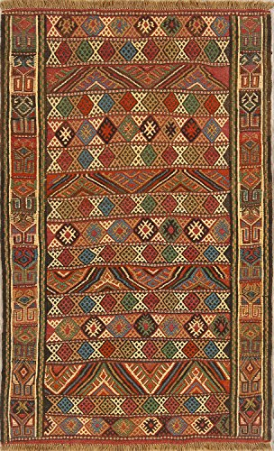 Rug Source One-of-A-Kind New Kilim Tribal Geometric Hand-Woven 4x6 Wool Persian Area Rug (6' 3