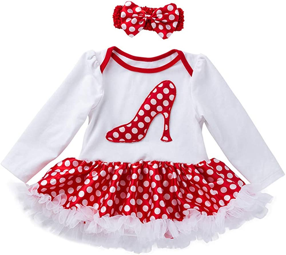 Yuke Baby 0-2 Years Old Baby 2 Pcs Sets Romper Skirt with Headband Birthday Outfit Sets Toddlers Girls Tutu Dress Set