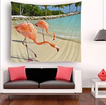 YINGBAOBAO Tapices 3D Animales Flamencos Caminando por La Playa Impresión Digital Decoración del Hogar Sábanas Toallas De Playa Colchonetas De Yoga Mantas.