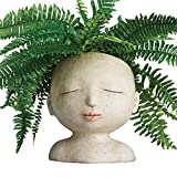 Head of Lady Flower Pot Planter Container Resin Indoor Outdoor Home Decor Gift