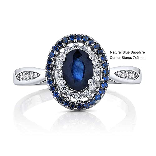 Gem Stone King 1.60 Ct Oval Blue Sapphire 925 Sterling Silver Ring Available 5,6,7,8,9