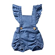 G-real Summer Jumpsuit, Infant Toddler Baby Girls Fashion Ruffle Strap Denim Romper Jumpsuit for 3-18M (Blue, 12M)