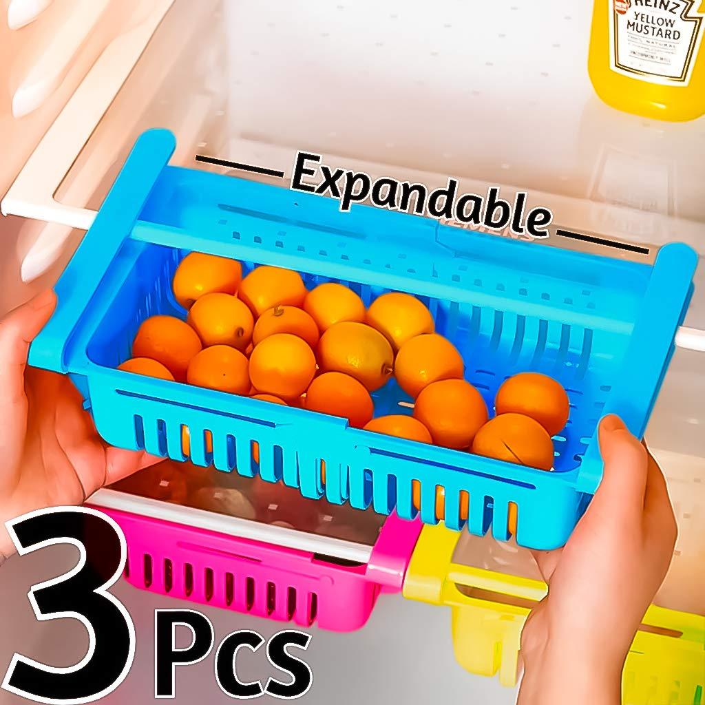 Angel Bear 3 Pcs Expandable Adjustable Fridge Storage Basket Under Shelf Fridge...