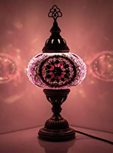 DEMMEX 2019 Turkish Moroccan Mosaic Table Lamp with US Plug & Socket, Handmade Desk Bedside Table Night Lamp, Decorative Tiffany Lamp Light, Pink & Red