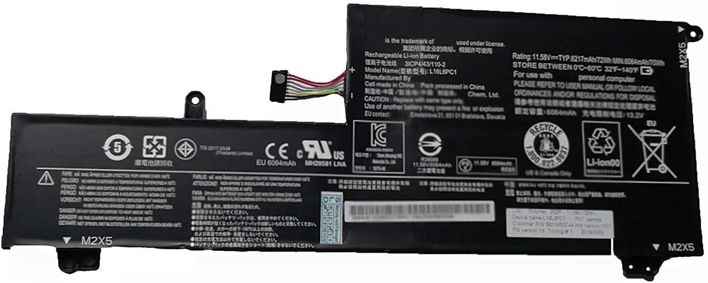 BOWEIRUI Replacement Laptop Battery for Lenovo L16L6PC1 (11.58V 72Wh 6217mAh) Yoga 720 720-15 720-15Ikb Series L16C6PC1 L16M6PC1 3ICP4/43/110-2