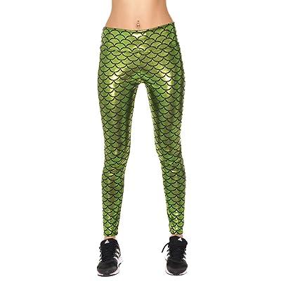 COCOLEGGINGS Women Slim Mermaid Fish Scale Shiny Stretch Printed Leggings