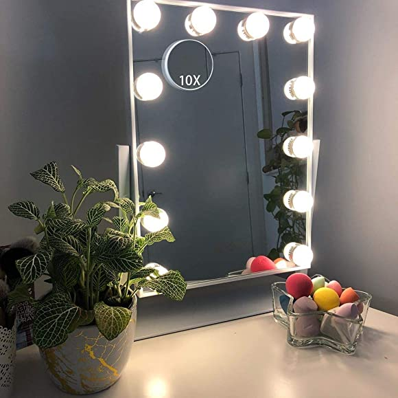 Hansong Large Hollywood Makeup Vanity Mirror with Lights,Plug in Light-up Professional Mirror with Storage,Removable 10x Magnification,3 Color Lighting Modes, Cosmetic Mirror with 12 Dimmable Bulbs