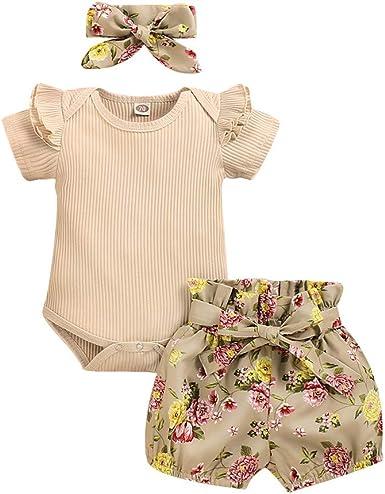 Ropa Bebe Niña Verano Fossen - Conjunto de Pantalones Cortos con Estampado de Flores y Mamelucos para Bebés Recién Nacidos