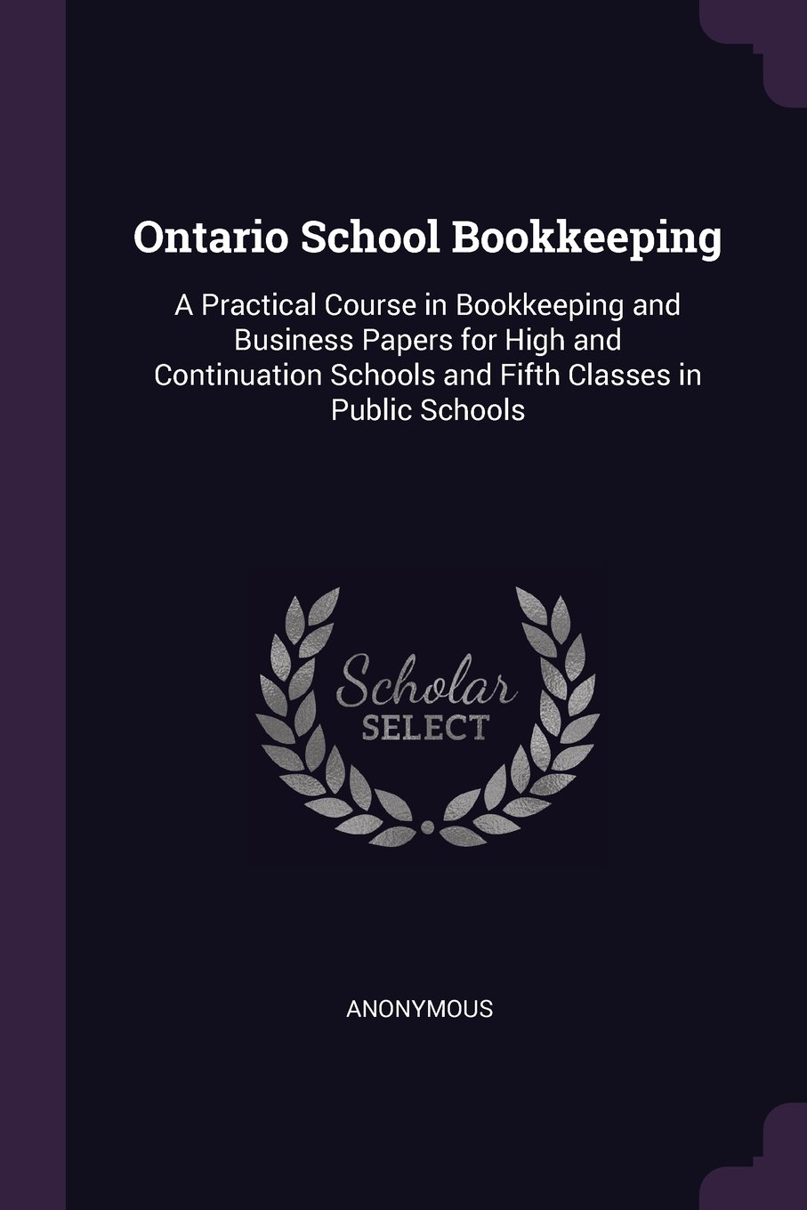 Ontario School Bookkeeping: A Practical Course in Bookkeeping and Business Papers for High and Continuation Schools and Fifth Classes in Public Schools pdf
