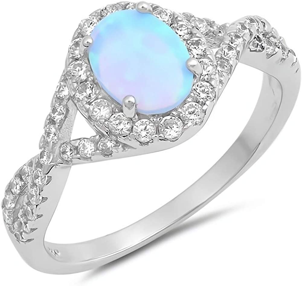 White Glitzs Jewels 925 Sterling Silver Created Opal Ring   Jewelry Gift for Women Ankh