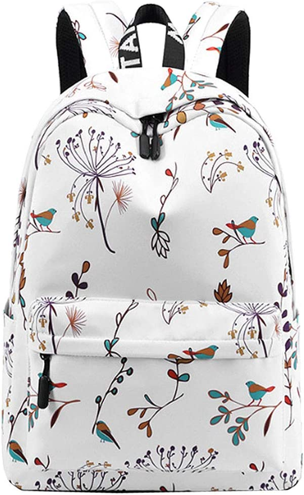 Van Caro Waterproof Large School Backpack Floral Printing Travel Rucksack for Women Girls White