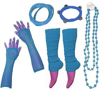 A-Express Mujer Chicas Calentador de Pierna Collar Pulsera Caucho Guantes para Tutu Fiesta Disfraces - Azul: Amazon.es: Juguetes y juegos