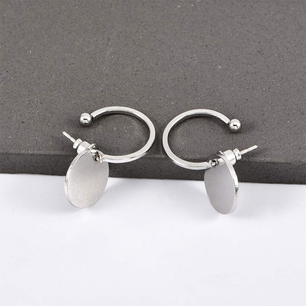 Round Earring Ear Jacket Stud Earrings for Women and Girls for Sensitive Ears Simple Chic Jewelry