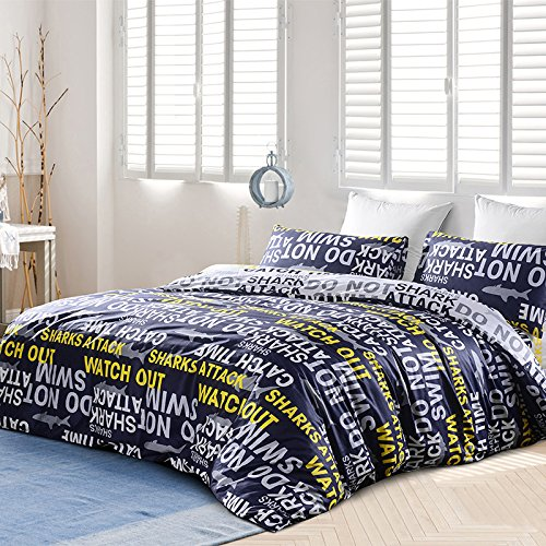 TheFit Paisley Textile Bedding for Adult U535 Black Yellow Shark Attack Duvet Cover Set 100% Cotton, Queen Set, 4 Piece