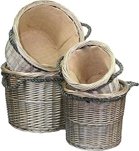 Thyme /& Season Grand Antique Wash Ronde Panier /à b/ûches /à Manche Corde