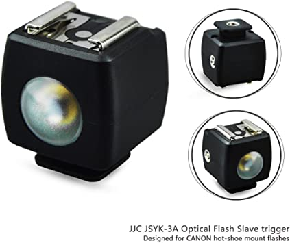 Optical Flash Slave Trigger JJC Hot Shoe Sync Adapter with PC Socket,Optical Sensor /& 1//4-20 Threaded Socket Cold Shoe for All Flashes Speedlight with Standard ISO 518 Hot Shoe-1 Pack