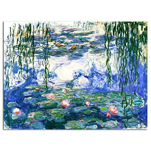 Wieco Art Water Lilies by Claude Monet Oil Paintings Flowers Reproduction Extra Large Modern Gallery Wrapped Giclee Canvas Prints Artwork Landscape Pictures on Canvas Wall Art for Home Decorations (Canvas Print Deco Art)