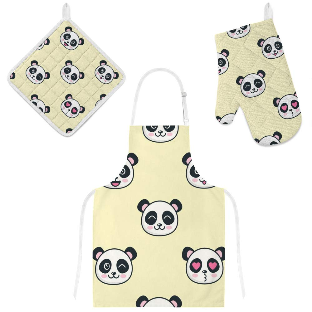 Top Carpenter Polyester Kitchen Oven Mitts Glove Potholder Apron 3Pcs Set Cute Panda Faces Non Slip Heat Resistant Mitts for Baking Cooking BBQ