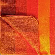 Soft and Warm Alpaca Wool Reversible Throw Blanket Handwoven in Ecuador (Orange)