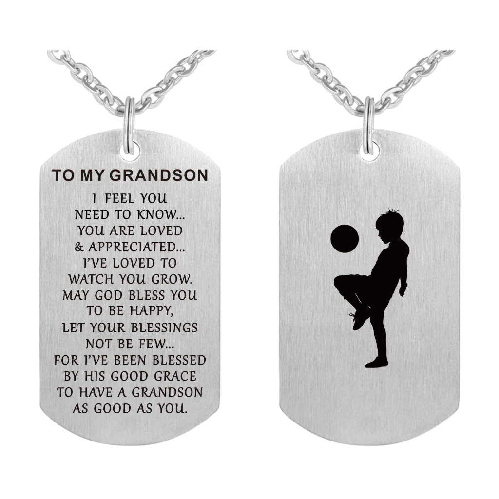 To My Grandson I Love You Dog Tag Necklace Graduation Gifts from Grandma Papa