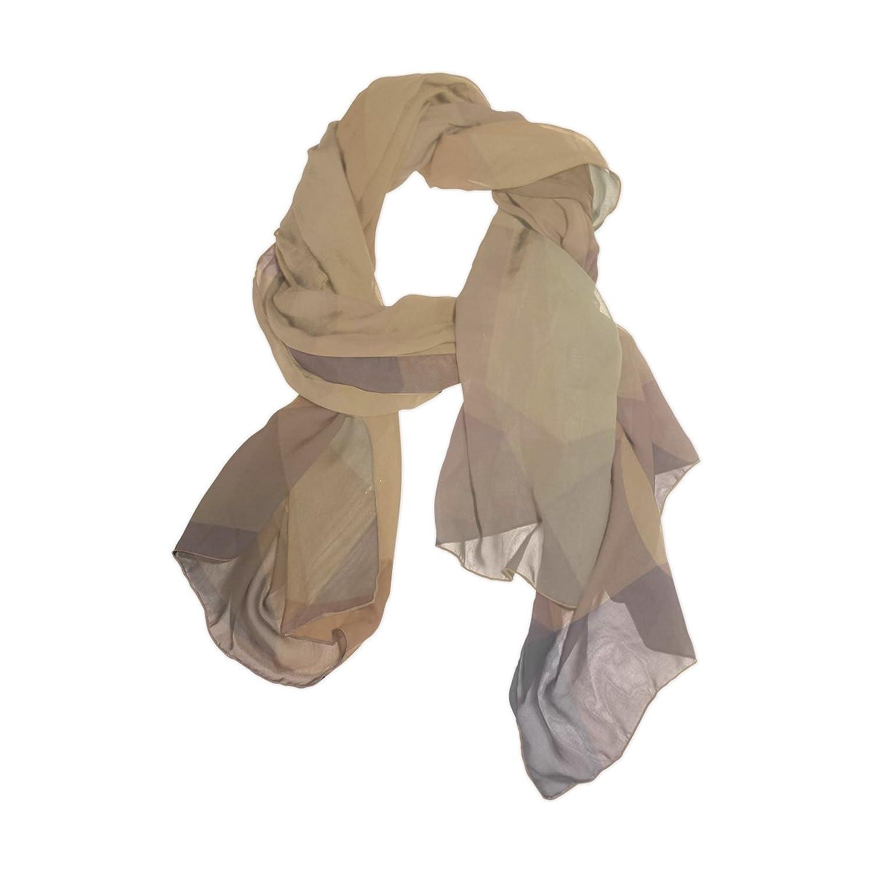 Senya Women's Fashion Large Long Sheer Silk Scarf Shawl Wrap, Triangle Pattern