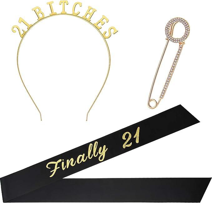 Amazon.com: Set de disfraz de 21 cumpleaños, incluye una ...