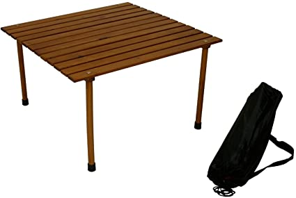 Charmant Table In A Bag W2817 Low Wood Portable Table With Carrying Bag, Brown