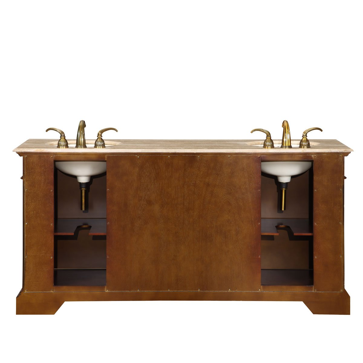 Silkroad Exclusive LTP-0176-T-UIC-72 Cynthia 72 Double Sink Cabinet with 4 Drawers 2 Doors Travertine Top and Undermount Ivory Ceramic Sinks (3-Hole) in Dark Chestnut by HF Gallery by HF Gallery