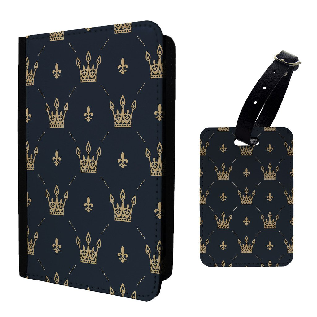 Accessories4Life Bling Black Gold Vintage Crown Luggage Tag /& PU Leather Travel Passport Holder Protector Cover Wallet S647
