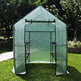 Yijin Large Walk-in Plant Greenhouse 3 Tiers 8 Shelves Stands Green House 56 (L) x 56(W) x 77(H)