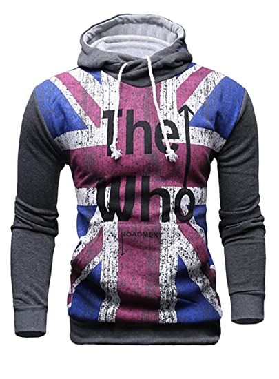 108a81b5 Mooncolour Mens Novelty Color Block Hoodies Cozy Sport Autumn Outwear - The  Who, Dark Gray