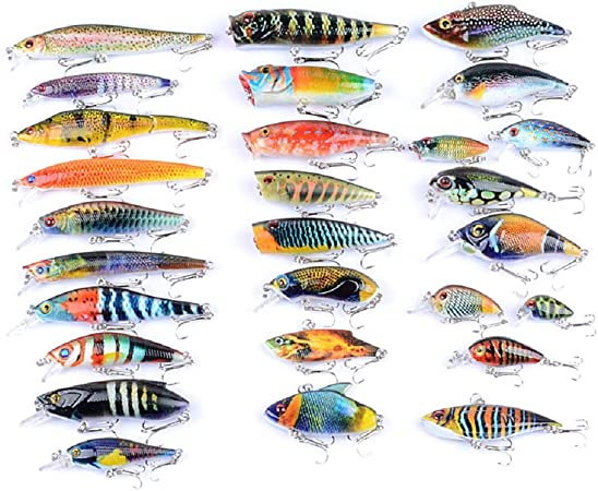 Hard Fishing Lure Set 28 Types Bass Fishing Lure Kit Colorful Minnow Popper Crank Rattlin Vib For Saltwater Or Freshwater Running Diving Lures Amazon Canada