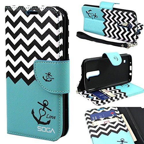 LG K10 Case, LG Premier LTE Wallet Case, SOGA [Pocketbook Series] PU Leather Magnetic Flip Design Wallet Case LG K10 / Premier LTE - Teal Chevron Anchor Love (Anchor Premier)