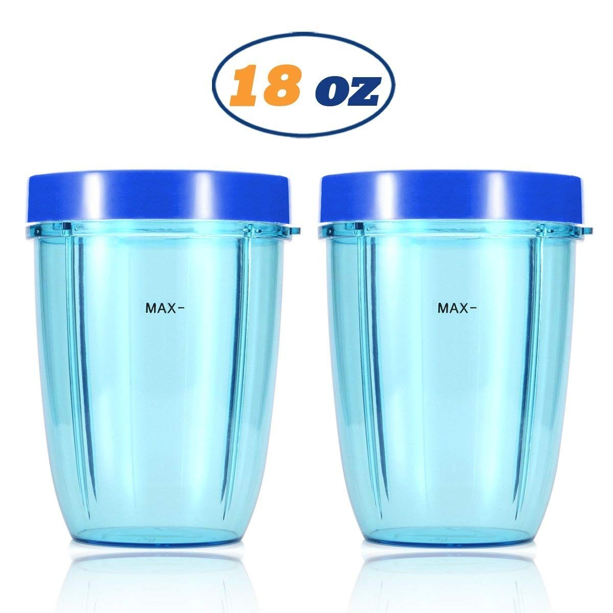 Replacement Blender Cups for NutriBullet Brand Accessories 600w 900w (18oz, Dark Blue Lip Rings)