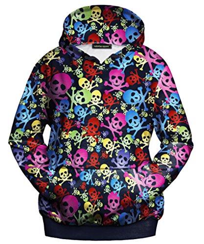 Thenice Women's Halloween Long Sleeve Hoodies Sweatshirts (S/M, Poisonous skeleton) -