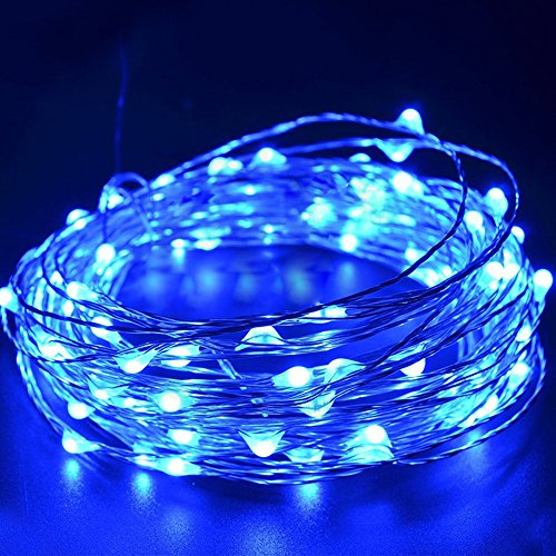 ElementDigital LED String Lights Dimmable with Remote Control Waterproof Christmas Decorative Lights 100 LEDs for Bedroom Patio Garden Yacht Yard Party Tree Wedding Xmas 33ft UL Listed (Blue) Remote Control Floating Lantern