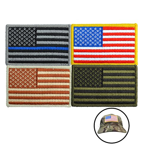 HOLY KT 4 Pieces American Flag Embroidered Patch Hook Flag Patch Tactical Flag Tags Patch Gold Border USA United States of America Military Uniform Emblem Reversed - Third Flag Confederate
