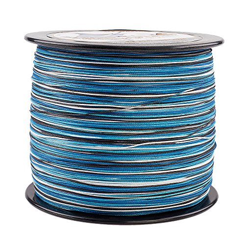HERCULES Super Cast 1000M 1094 Yards Braided Fishing Line 100 LB Test for Saltwater Freshwater PE Braid Fish Lines Superline 8 Strands - Blue Camo, 100LB (45.4KG), -