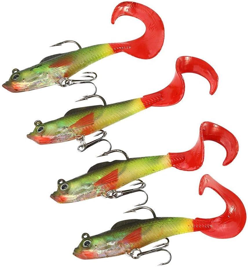 Set of 4pcs Fishing Lure 3.54in Lifelike Big Bass Shad Soft Bait Luminous Plastic Fishing Bait 9cm