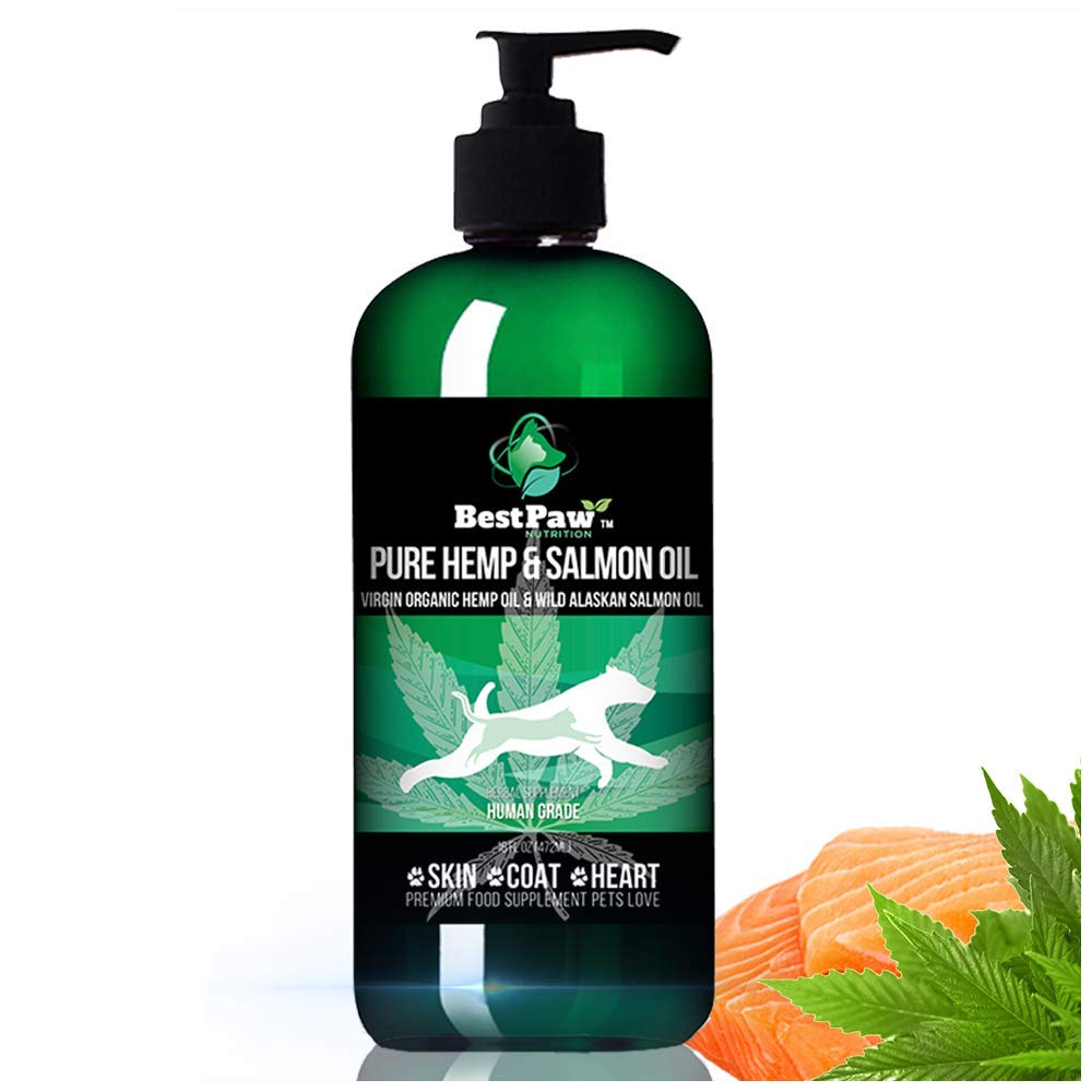 Pure Wild Alaskan Salmon Oil with Organic Hemp Oil for Dogs and Cats 16oz - Omega 3 6 9 Fish Oil Supplement for Pets Healthy Skin and Coat, Joints, and Heart - Made in USA by Best Paw Nutrition