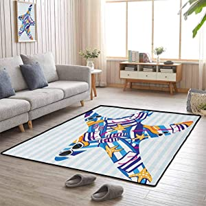 Sofa Area Rug, Contemporary Luxury Large Rug Super Soft Indoor Modern for Bedroom Floor, Starfish | Cartoon Styled Starfish with Summer Season Vacation Accessories Striped Backdrop - 3'x5'