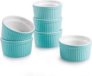 Teocera Porcelain Ramekins, Souffle Dishes - 8 oz for Souffle, Creme Brulee and Pudding - Set of 6, Turquoise