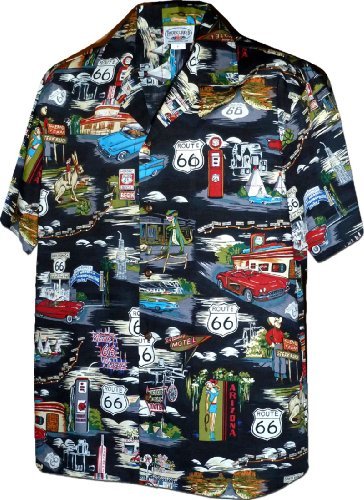 Street Shirt Hawaiian (Pacific Legend Mens Route 66 The Main Street of America Shirt Black 2XL 410-3812)