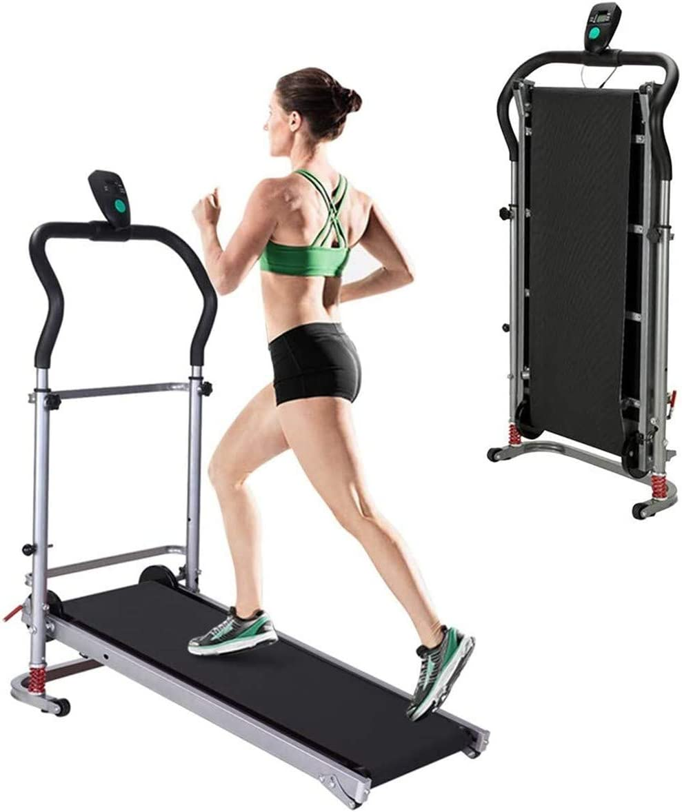 YXIUER Folding Treadmill, Portable Compact Electric Treadmill, Manual Running Machine with LCD Screen, Portable Fitness Treadmill for Home, Office, Gym