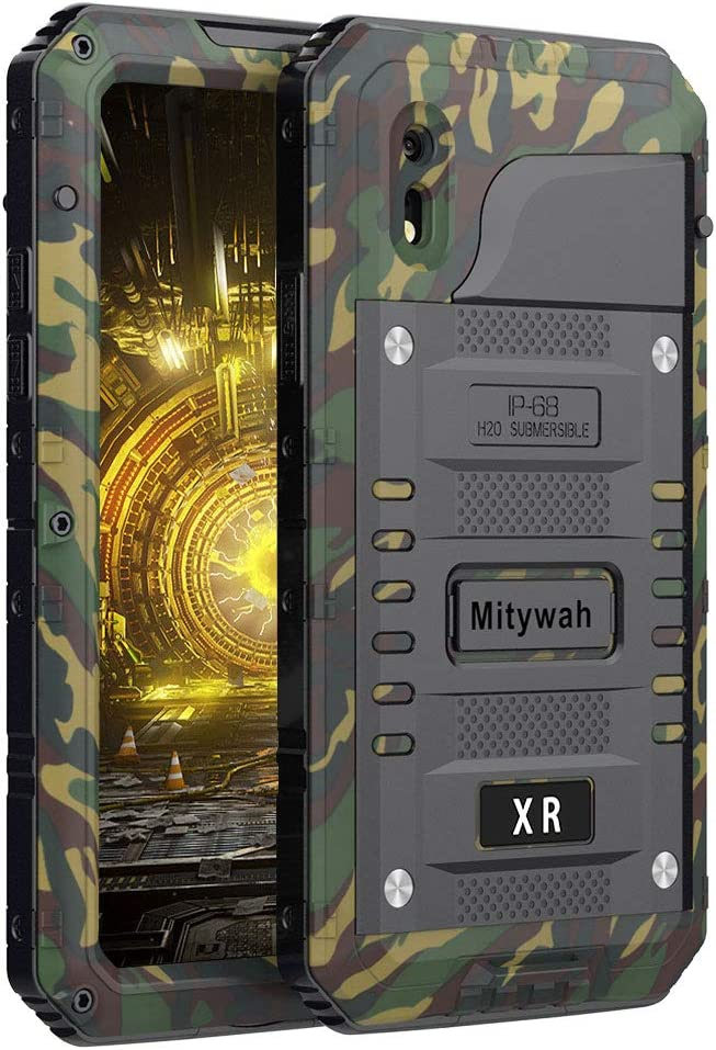 Mitywah Shockproof Case Compatible with iPhone XR, Waterproof Full Body Protective Cover with Screen Protection, Impact Strong Heavy Duty Metal Shell Military Grade Defender for Outdoor, Camouflage