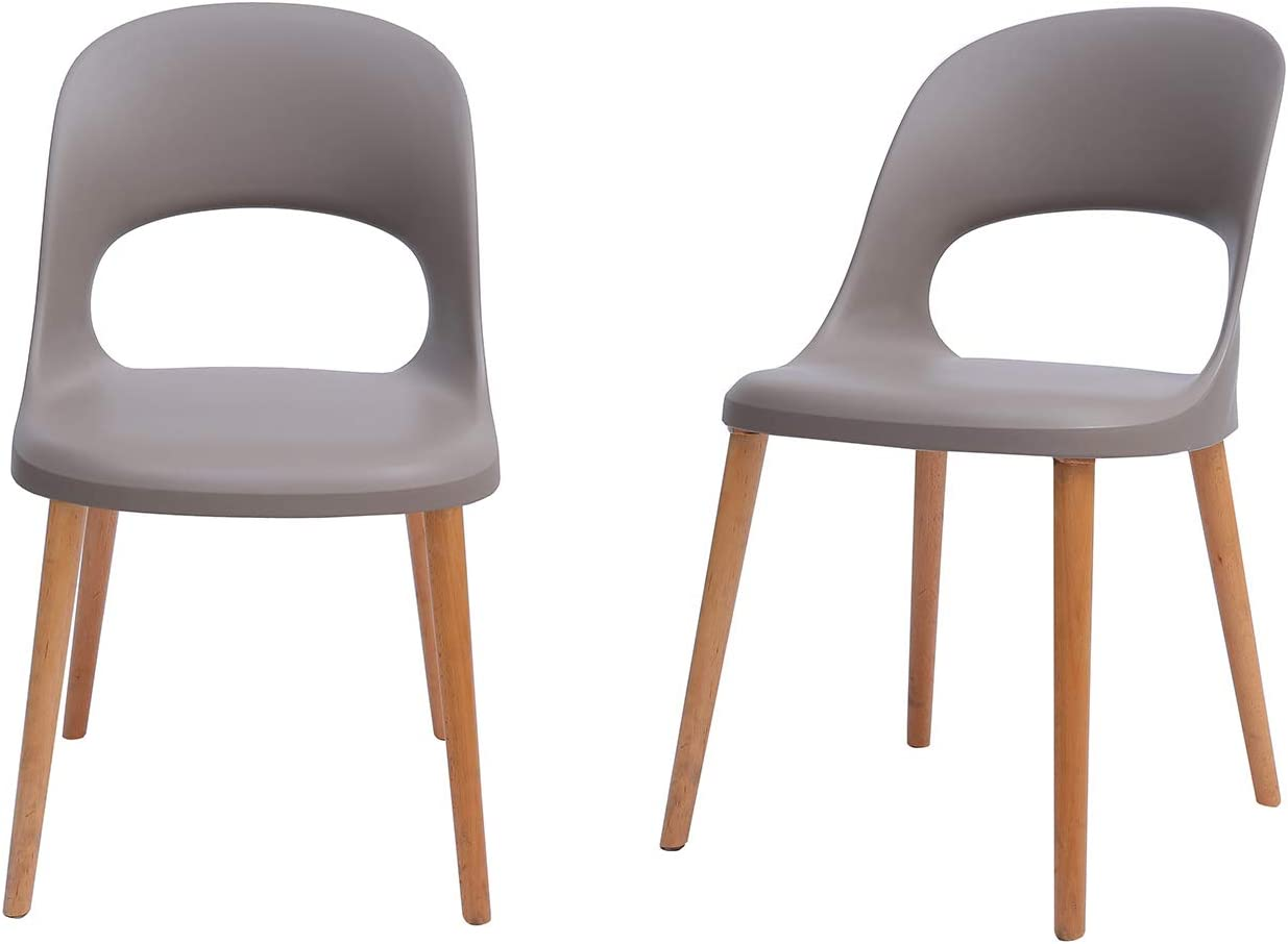 "Amazon Brand - Rivet Henrik Modern Open-Back Plastic Dining Chair, Set of 2, 18.5""W, Mild Gray"