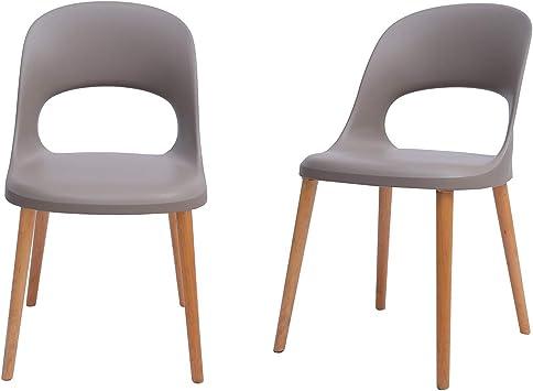 Amazon Com Amazon Brand Rivet Henrik Modern Open Back Plastic Dining Chair Set Of 2 18 5 W Mild Gray Chairs