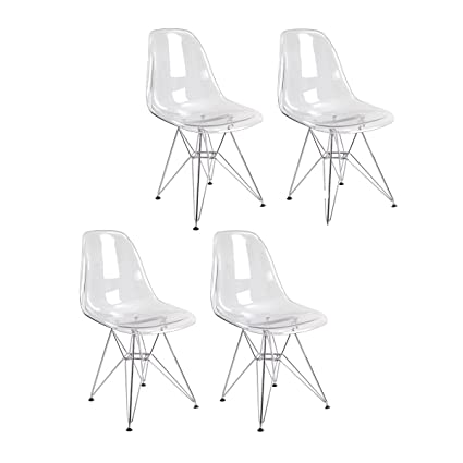 Mod Made Mid Century Paris Tower Transparent Ghost Side Chair Dining Chair,  Clear, Set