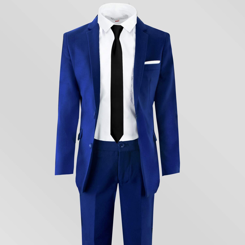 Black n Bianco Signature Boys' Slim Fit Suit Complete Outfit (7, Blue) by Black n Bianco (Image #5)